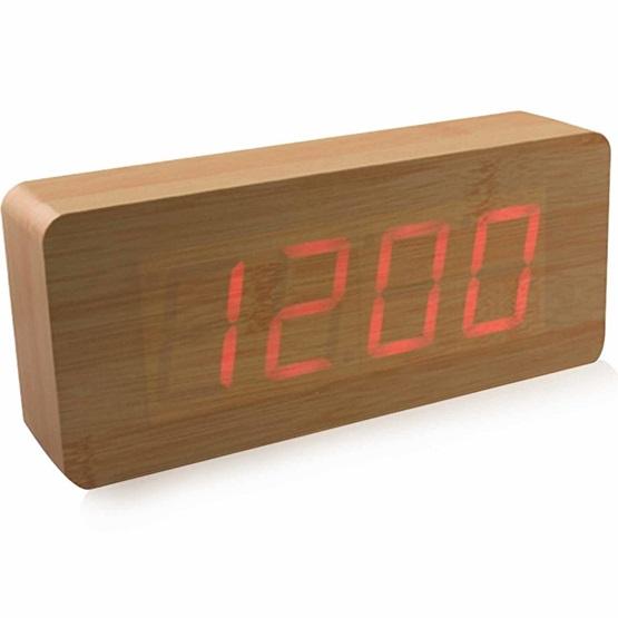 Επιτραπέζιο ξύλινο ψηφιακό ρολόι - ξυπνητήρι - θερμόμετρο LED OEM ... bd2ac822ebf