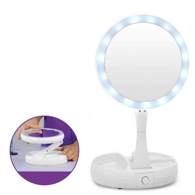 Υπερμεγενθυντικός LED Φωτιζόμενος Πτυσσόμενος Καθρέφτης Διπλής Όψεως – My Fold Away Mirror – Γωνία θέασης 360 μοιρών – Αναδιπλούμενος – 2 ειδών καθρέφτες OEM